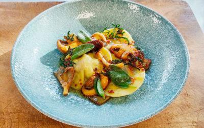 Foie Royale Wild Mushroom Ravioli with Sage Butter Sauce